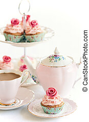 Afternoon tea served with gourmet cupcakes