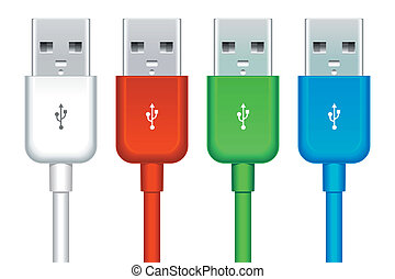 set of usb buses - color set of four usb buses