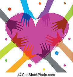hands on heart - illustration of heart with human hands on...