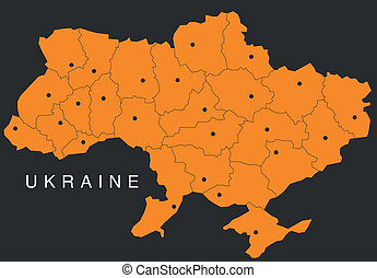 map of ukraine - vector map of ukraine isolated on black