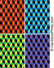 wallpaper cubic - four cubic seamless patterns of different...