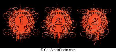 red grunge laurel wreaths