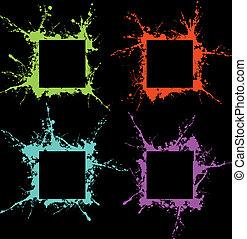 grunge art frame - coloured grunge art frame of blots and...