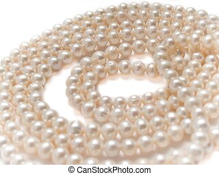 pearls necklace jewelry, isolated over white background