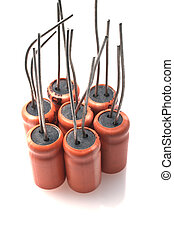 Capacitors - Electronic capacitors against on a white...