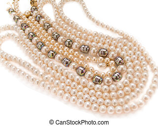 pearls necklaces jewelry, isolated over white background