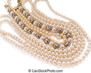 perlas, collares, Joyas, aislado