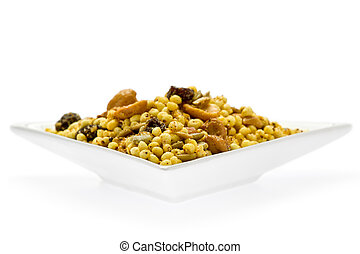 Indian Snack Food - Indian snack food called chewra on white...