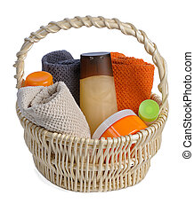toiletries in backet - set of toiletries in basket isolated...