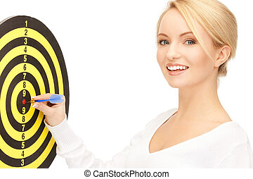 businesswoman with dart and target - bright picture of...