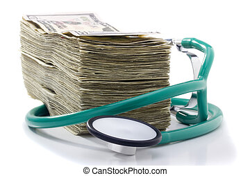Medical Costs - Stack of money and a stethoscope on a white...
