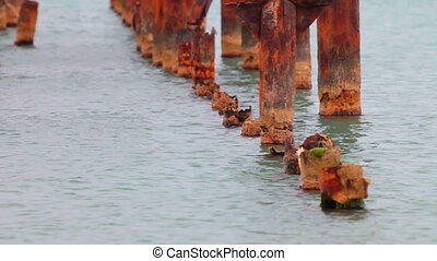 old pier destroyed by corrosion