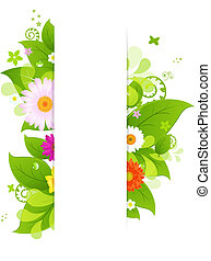 Natural Background With Leaves And Flower