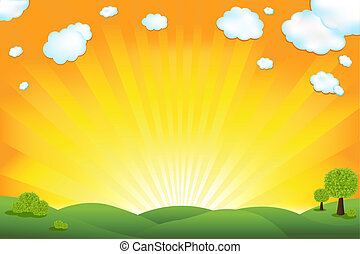 Green Field And Sunrise Sky, Vector Illustration