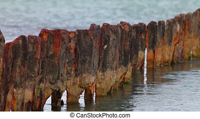 rusty piles of the old pier