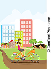 Woman riding a bike