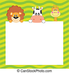 Animals poster - Child Postcard. Animals with a blank sign...