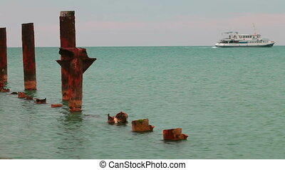rusty destroyed pier