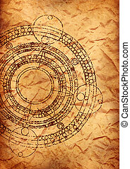old parchment with maya calendar - old crumpled parchment...