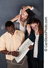 Three Funny Looking Adults - Geek with keyboard, salesman...
