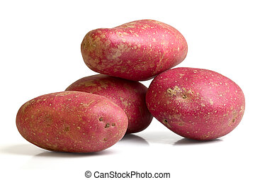 Desiree potato - Red Desiree potato from low perspective...
