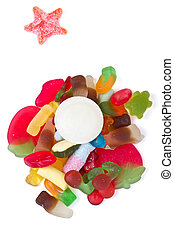 jelly mixup - Kids jelly sweet mix up overhead view isolated...