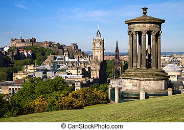 Edinburgh Cityscape And Castle - Edinburgh City and Castle...