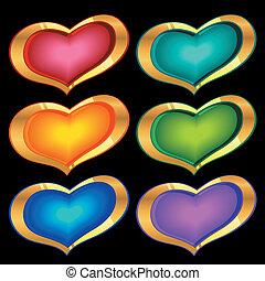 color golden hearts