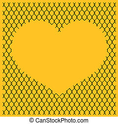 chain link fence with heart