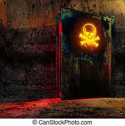 danger door - Open danger door with caution sign in old...