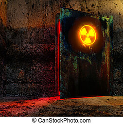 danger door - Open danger door with radiation caution sign...
