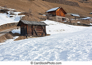 wooden houses in south-tirol