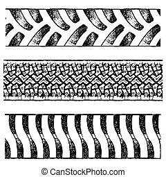 tire tracks - set of various black tire traces isolated on...