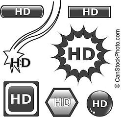 HD glossy web button set black icons isolated