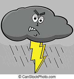 Lightning cloud - Cartoon illustration showing an angry dark...