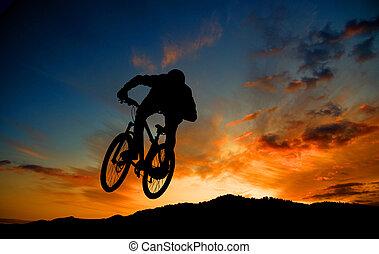 Racing at sunset