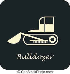 Bulldozer - vector icon. Can be used as logo for...
