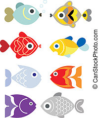 Exotic aquarium fishes - Ornamental aquarium fishes - vector...