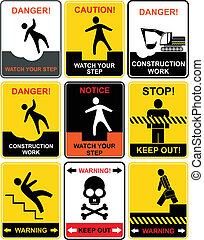 Warning signs - Set of warning signs Notice and caution