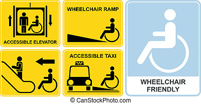 Wheelchair sign - Accessible taxi, elevator, wheelchair...