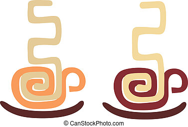 Coffee cups - Vector image of coffee cup, stylized aztec...