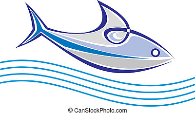 Fishy - Fish floats on the sea waves - stylized vector...