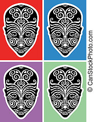 maori face tattoo - black and white illustration of maori...