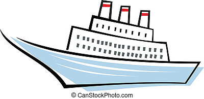 Ocean liner - ship - Stylized vector image of sailing ocean...
