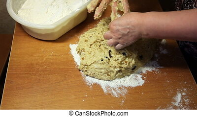 Cooking - Woman kneads dough for a pie