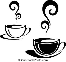 Two cups of coffee - The two cups of coffee with spiral...