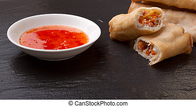 Springroll n sauce - Spring rolls with sweet chili dipping...