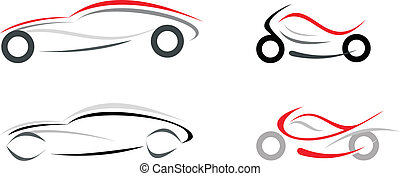 Car and motorcycle - Motorcycle and sportive car on white...