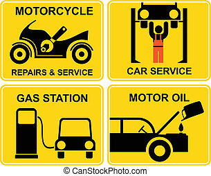 Autoservice, motorcycle repairs - A set of vector signs for...