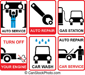 Car service vectror signs
